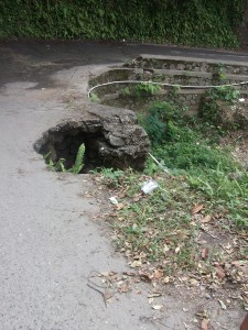 Road damage from Hurricane