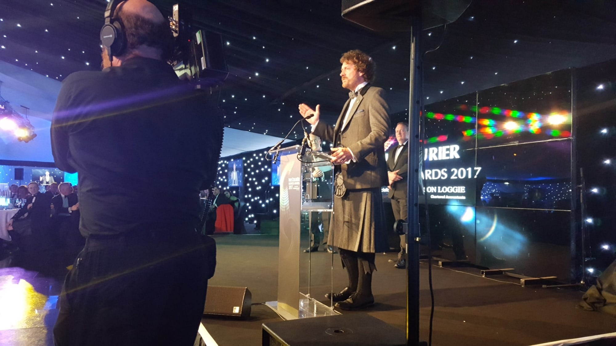 University of Dundee alumnus Chris van der Kuyl picks up his Outstanding Achievement Award at the Courier Business Awards 2017