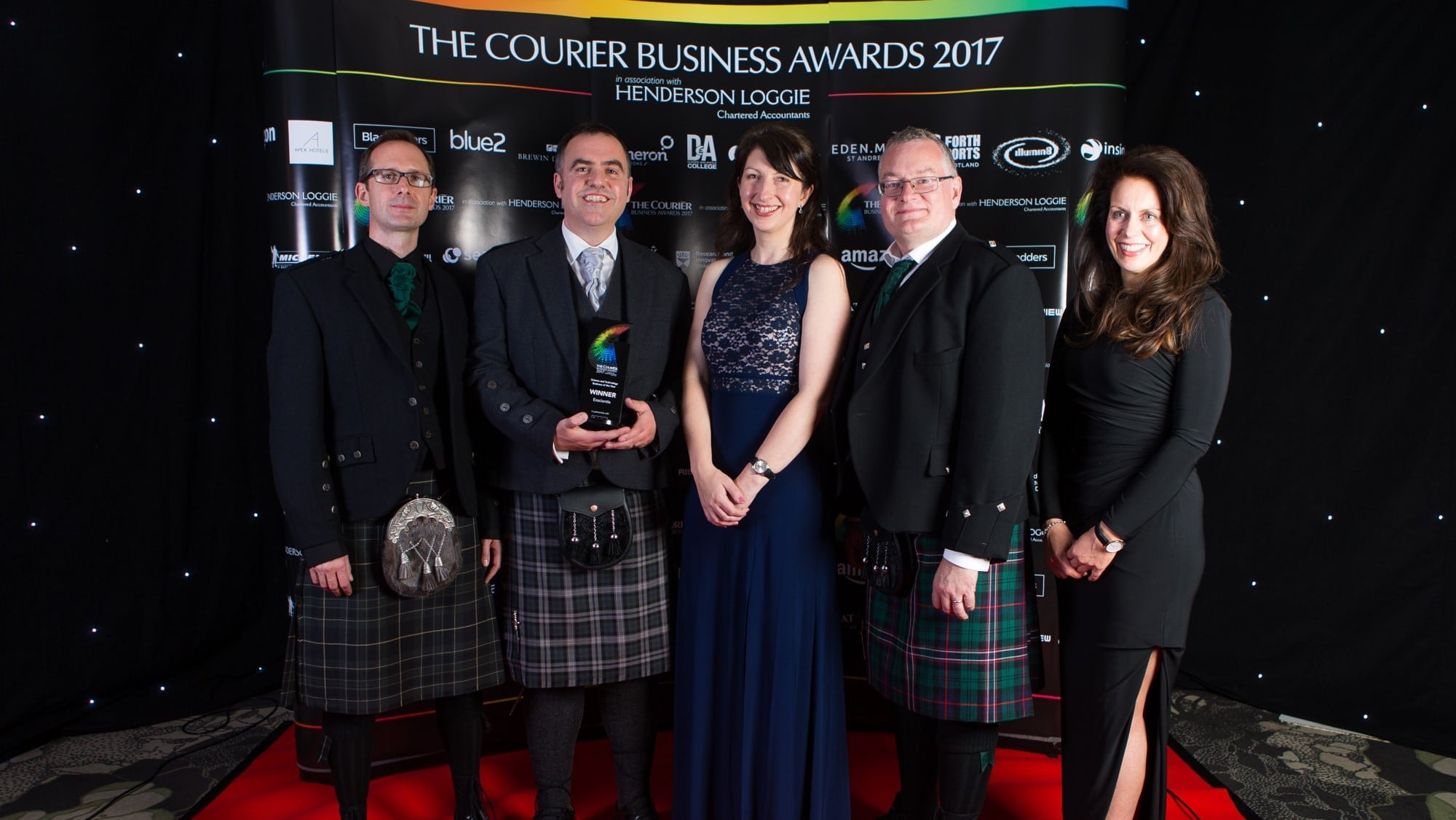 University of Dundee spinout Exscientia win the Science and Technology Business of the Year at the Courier Business Awards 2017