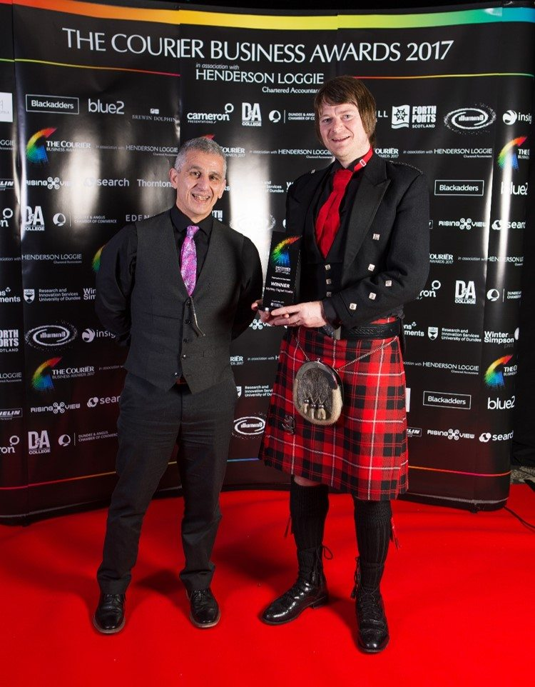 University of Dundee spinout MyWay Digital Health win the Enterprise in Education Award at the Courier Business Awards, sponsored by Research and Innovation Services