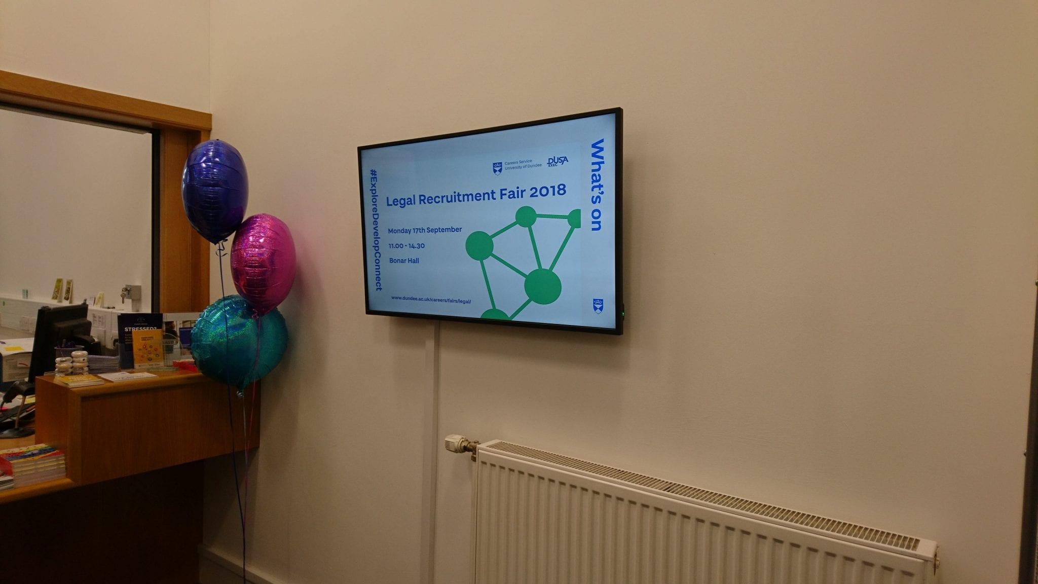 Digital signage at Education & Social Work reception
