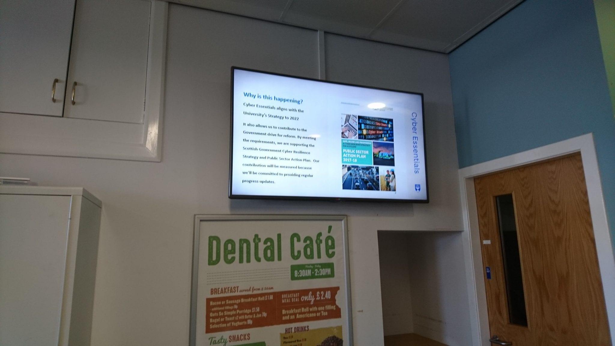 digital signage in the dental cafe