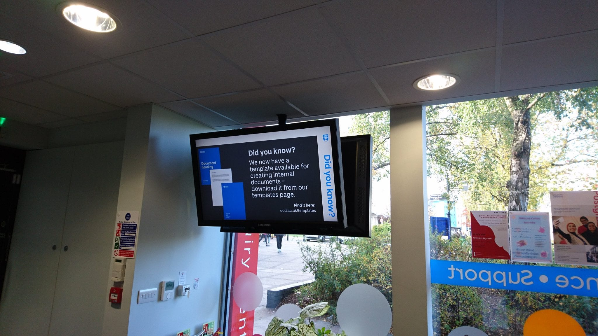 Digital signage inside the Enquiry Centre