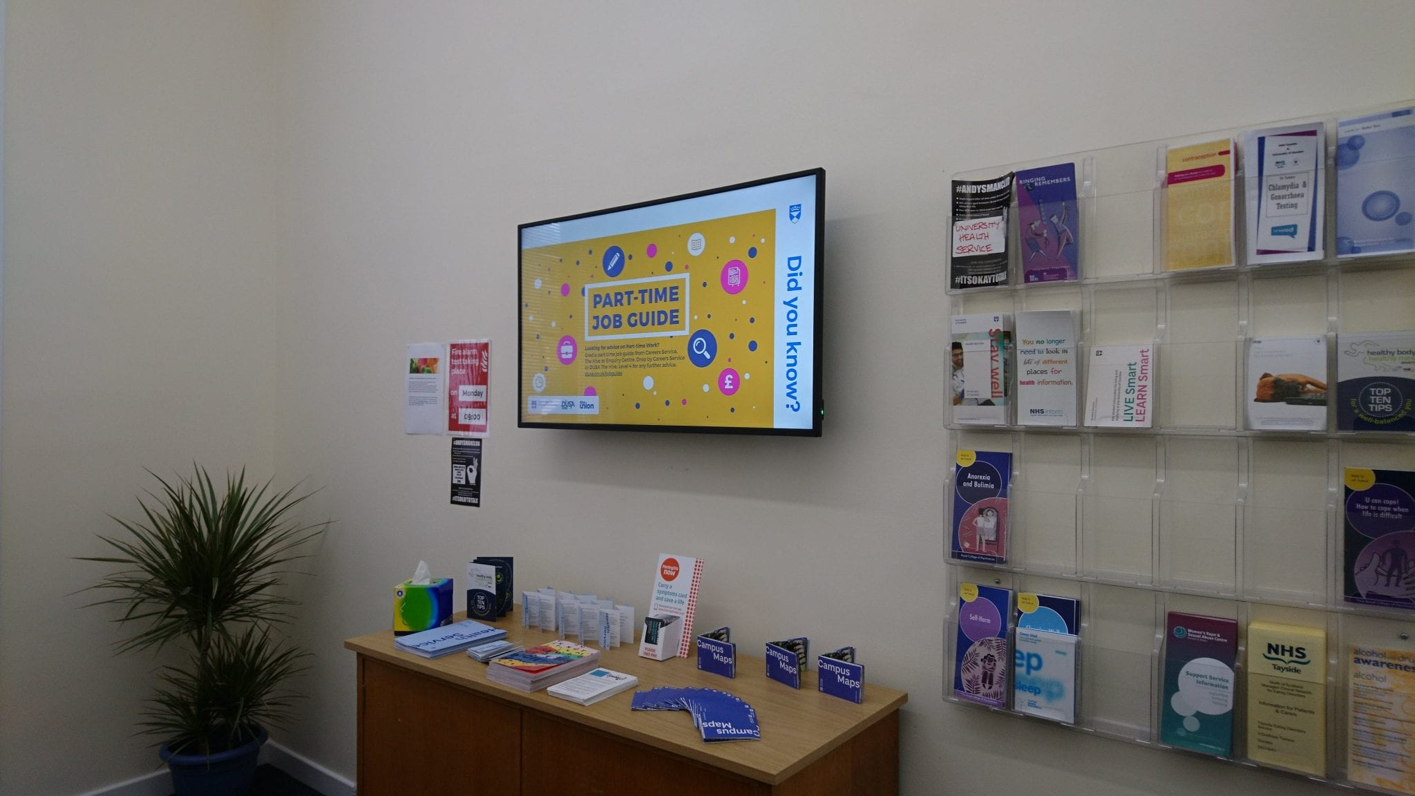 Digital signage in the Health Service waiting area