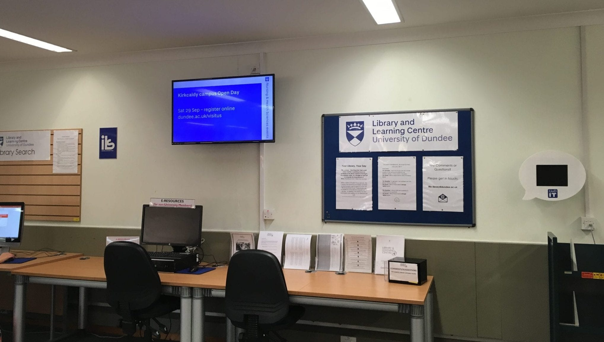Digital signage in Ninewells library