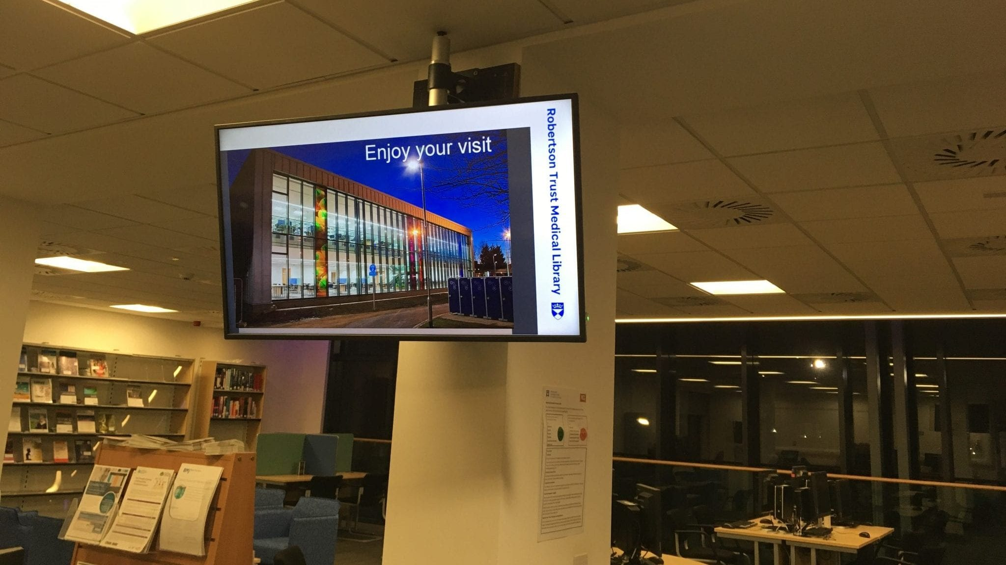 Digital signage at Main library reception