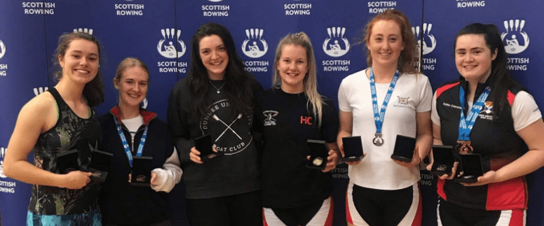 DUBC medallists (left to right) Fiona Lapp, Rosie Handley, Rosie Morgan, Hannah Campbell, Eleanor Brinkhoff and Katie Canniford