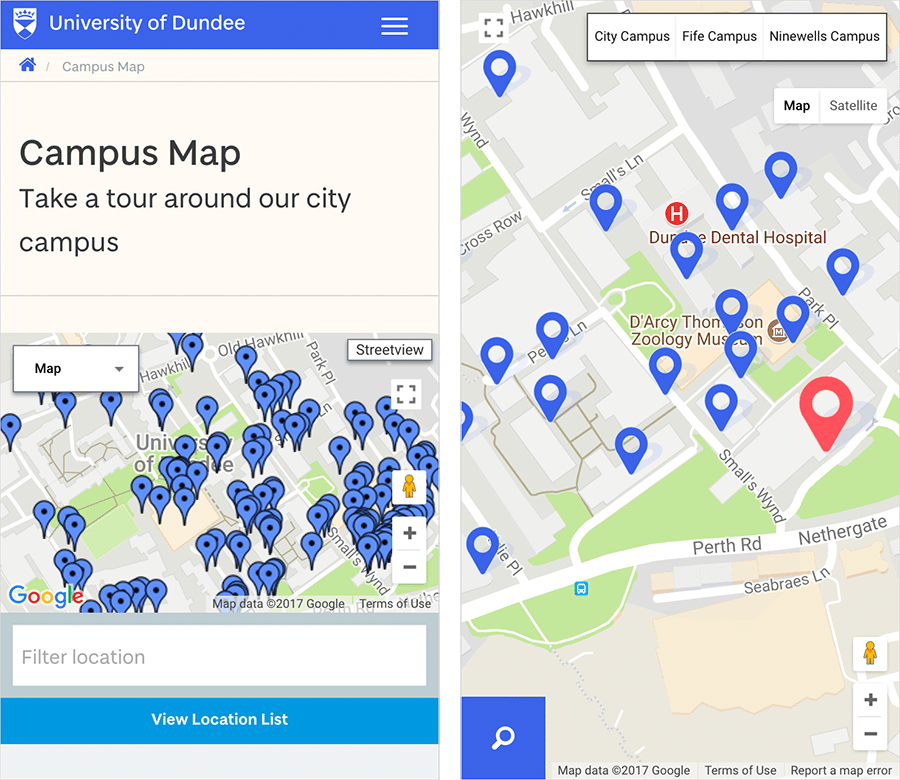 Image of the old campus map vs the new campus map