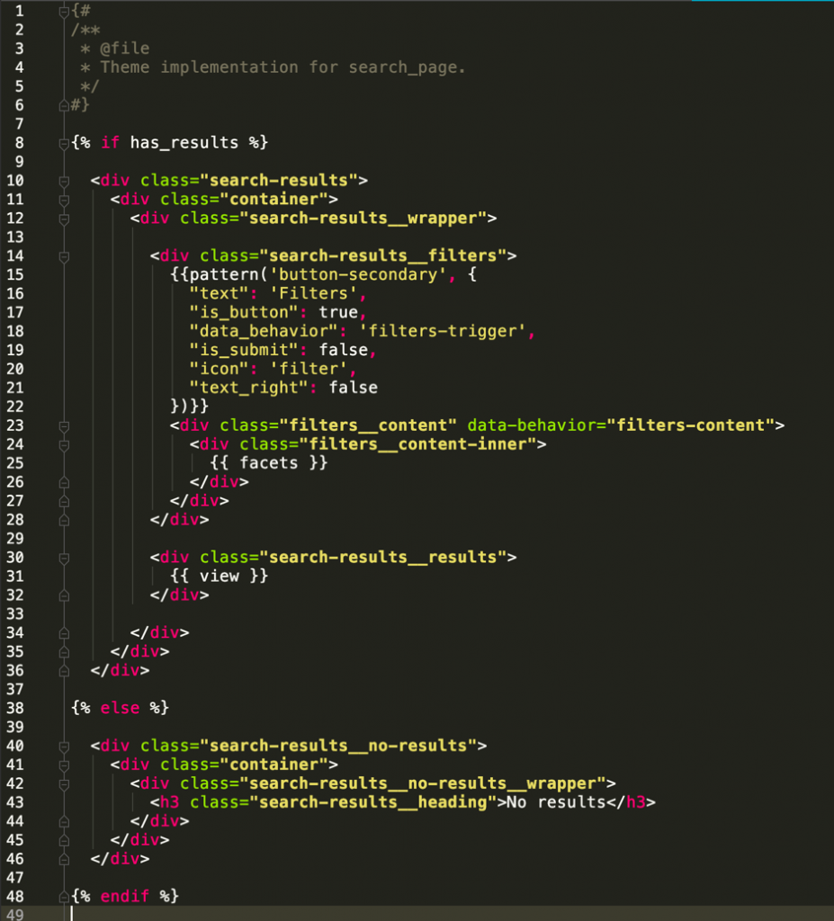 twig code in custom drupal theme