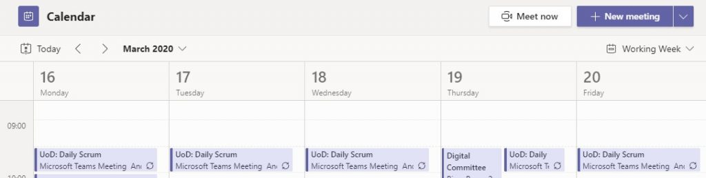 daily scrum calendar