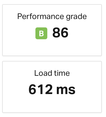 Load time for students homepage on old site is 612ms