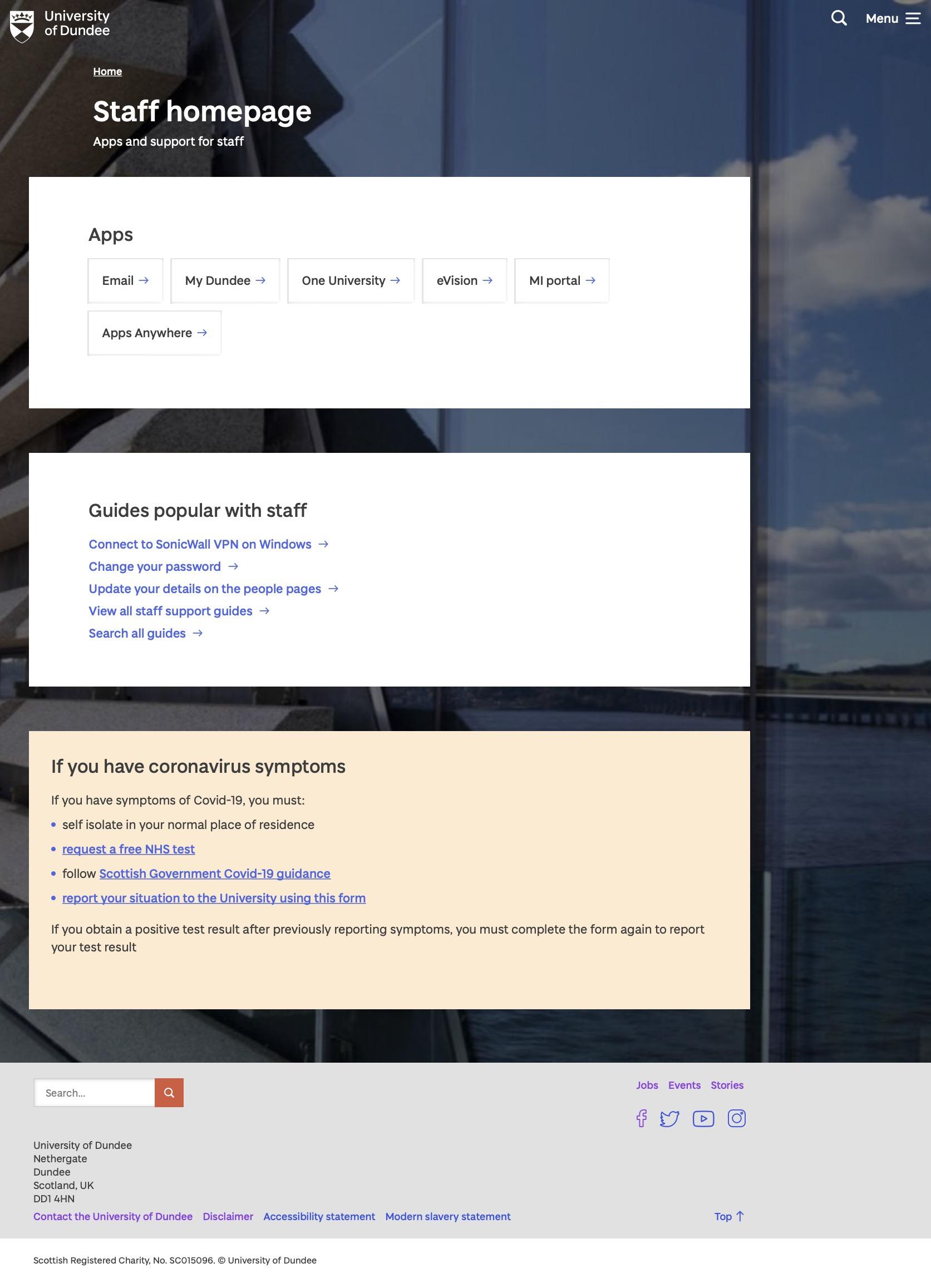 Staff homepage image